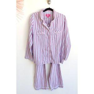 Victoria's Secret Pink and Blue Stripe Pajama Set